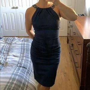 Sexy fitted metallic blue dress